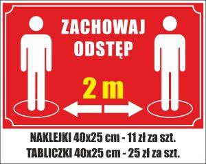 Tabliczka zachowaj odstęp 2 m